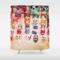 Sugar Skulls Shower Curtain by Jenndalyn