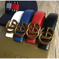 GUCCI Fashion Women Men Double G Smooth Buckle Belt Leather Belt(6-Color) I