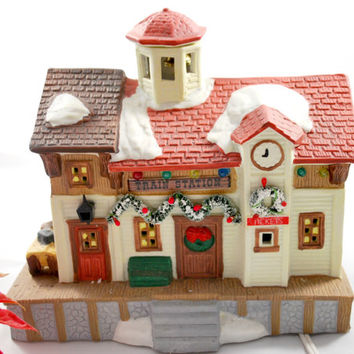 snow village train station lighted house for christmas decor