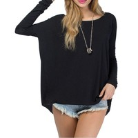 Celebrity Style Coloured Slouchy Oversized Uneven Hem Full Sleeve T-shirt Long Top Modal T-Shirts Tees New