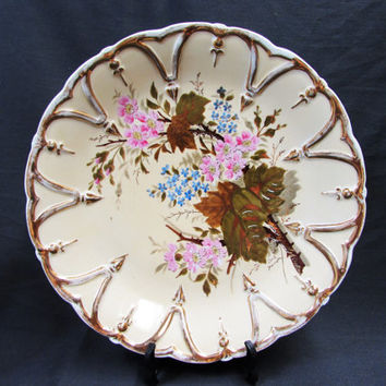 Vintage Creamy Yellow Porcelain Cabinet Plate | Large Gold Embossed Pink Floral Gold Leaf Plate