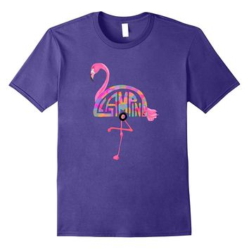 HIgh Tee Glamping Apparel Pink Flamingo Word Art Tee Shirt