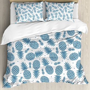 Blue Pineapple Duvet Cover Set Bed Cover Quilt Comforter