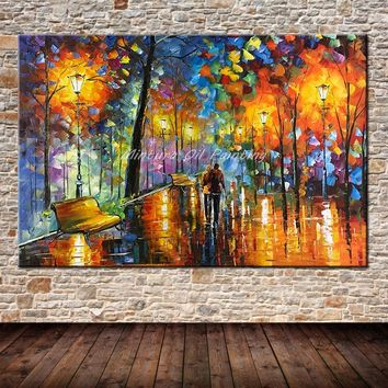 Large Handpainted Lover Rain Street Tree Lamp Landscape Oil Painting On Canvas Wall Art Wall Pictures For Living Room Home Decor
