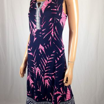 $60 New JM Collection Women's Printed Sleeveless Blue Sheath Tunic Dress Size M
