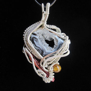 Sterling Silver Wire Wrapped Pendant with Crystal Agate Cabochon black and white