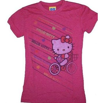 Girls Junk Food Hello Kitty Bike T-Shirt