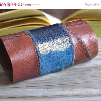 ON SALE Embroidered Leather Cuff - Leather Cuff Bracelet - Burgundy Leather Cuff - Dyed Leather Cuff