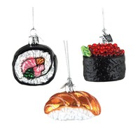 Noble Gems Glass Sushi Christmas Tree Ornaments, 1-3/4-Inch, 3-Piece