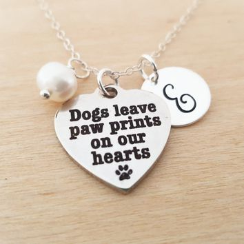 Dogs Leave Paw Prints On Our Hearts Necklace - Birthstone Necklace - Personalized Gift - Initial Necklace - Sterling Silver Necklace