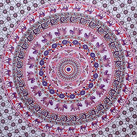 Jaipuri Art And Creations Twin White Elp Hippie Wall Hanging Indian Mandala Tapestries Wall Decor