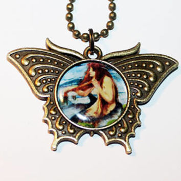 Mermaid Necklace, Whimsical Jewelry, Ocean, Beach, Nautical, Mythological, Bronze Butterfly Pendant