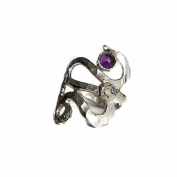 Snake Ring, Snake Jewelry for Women, Animal Ring silver, Animal Jewelry women, Hammered ring, Amethyst ring, Snake Ring, Animal Jewelry