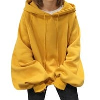 Long Lantern Sleeve Womens Yellow Hoodies Sweatshirts Oversized Tracksuits Sudadera Plus Size Hooded Pullovers Tops Sweat Femme