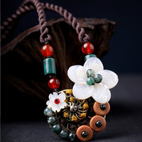 Nature Gem Stones Shell Flower  National Necklace