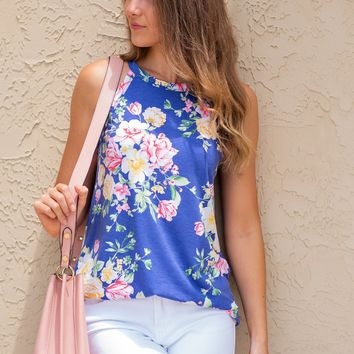 Love Your Charm High Neck Floral Top : Blue