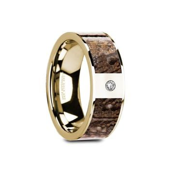 Brown Dinosaur Bone 14K Gold Engagement Ring with Diamond, Flat
