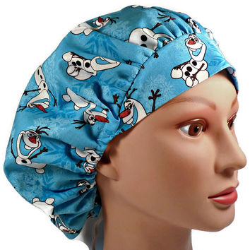 Women's Bouffant, Pixie, or Ponytail Surgical Scrub Hat Cap in Frozen Olaf Snowflake