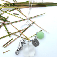 Sea glass, Sterling silver, Initial, Seahorse charm necklace.