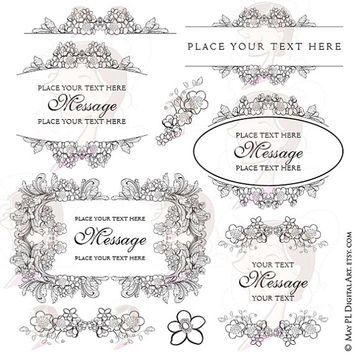 Floral Digital Wedding Frame Clip Art Foliage Borders Pretty Oval Monogram Wreath Garland Shabby Chic Acanthus Leaves Orange Blossom 10377