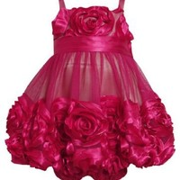 Rose-Pink Bonaz Rosette Mesh Bubble Dress RO1TW,Bonnie Jean Baby-Infant Special Occasion Flower Girl Party Dress
