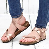 Ankle Wrap Bork Sandals {Rose Gold}