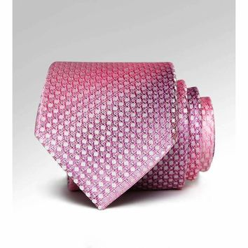 100% Silk Natural Fabric Mens Ties 7Cm Necktie Luxury Wedding Silk Pink Silver Line Jacquard Woven Paisley Mens Ties
