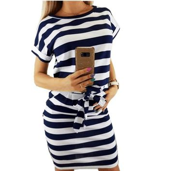 good quality Dress Women's Summer 2019 Sexy Lace Belt O-Neck Short-sleeved Slim Mini Dress Striped Summer Bandage Dresses Plus Size
