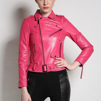 Women Genuine leather Jackets Sheep real leather Motorcycle Jacket Red black pink S-3XL high quality biker coat Bomber hot sale