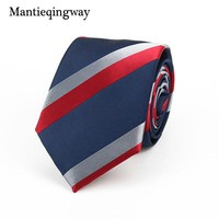 Mantieqingway Neckties 7cm Slim Silk Neck Ties for Men Striped & Dot Wedding Suits Gravatas Business Neckwear Polyester Corbatas