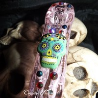 Sugar Skull Day Of The Dead Jewel Pink Glass Pipe Brick Square