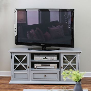 Grey Wood Entertainment Center TV Stand Cabinet with Adjustable Audio Video Shelves