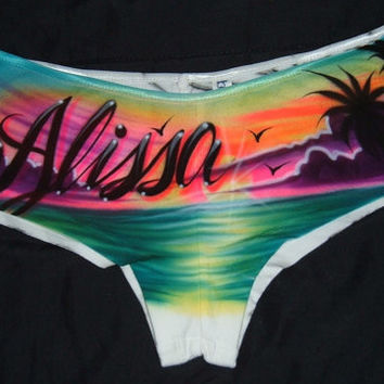 Airbrush Personalized Boy shorts Hipster Panties Beach Scene Background