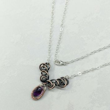 Sterling Silver and Copper Wire Sculpted Amethyst Crystal Drop Necklace