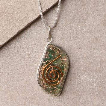 Green Jade Orgone Necklace - 24 inch Silver Chain