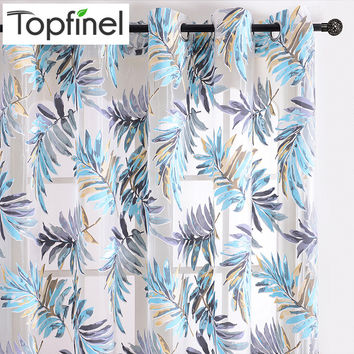 Top Finel Tropical Leaves Print Sheer Curtains for Living Room Window Curtain Bedroom Kitchen Tulle Curtains Room Divider