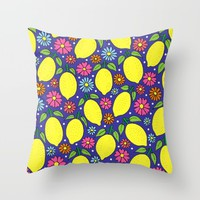 Lemons & Flowers Throw Pillow by Sarah Oelerich
