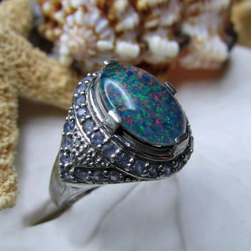 Sterling Silver Opal Triplet and Tanzanite Ring 7.37g  Size 9