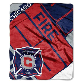 Chicago Fire MLS Royal Plush Raschel Blanket (Scramble Series) (50in x 60in)