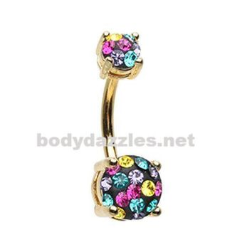 Golden Multi Sprinkle Dot Gem Prong Sparkle Belly Button Ring 14ga