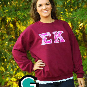 CUSTOM Gildan Crew Neck Sweatshirt with Greek (Sorority or Fraternity) Letters