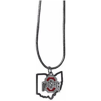 "Ohio State Buckeyes Home State Charm Necklace Silver Tone 18"" Snake Chain"