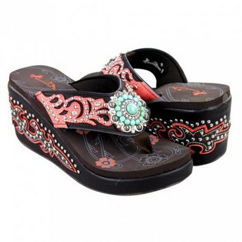 "Wedge Flip Flops with Bling by Montana West (Brown 3"" Wedge)"