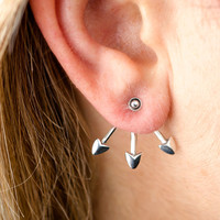 Sterling Silver Ear Jacket Earrings Arrowhead Ear Cuff Earrings Boho Jewelry - EJK005