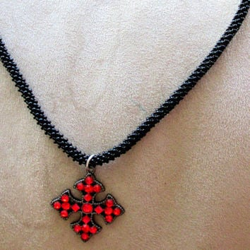 Unisex Black Beaded Necklace, Red Cross, CRAW Rope, Cross Pendant, Red Rhinestone, Soft Goth