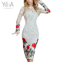 Yilia New White Black Lace Dress Party Dresses Women Long Sleeve 2017 Evening Bodycon Dress Rose Floral Knee Length Autumn Dress