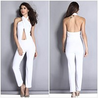 2016 white jumpsuit female elegant rompers lady sexy overalls women backless playsuit summer open back jump suit