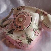 50 % OFF Retro phone. Antique phone. Hand-decorated phone Shabby chic style. Home decor