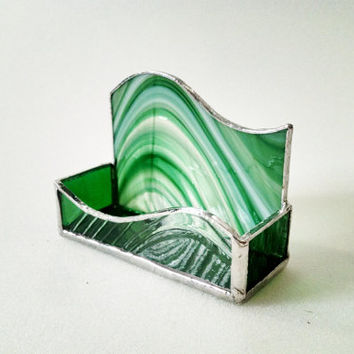 Business Card Holder--Green Baroque Swirl - Stained Glass - Desk Accessory - Office Decor - Office Gift - Irish Decor