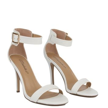 Ankle Strap Heel in White